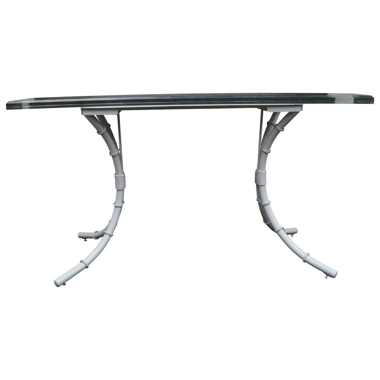 American Modern Faux Bamboo Lucite Top Console For Sale