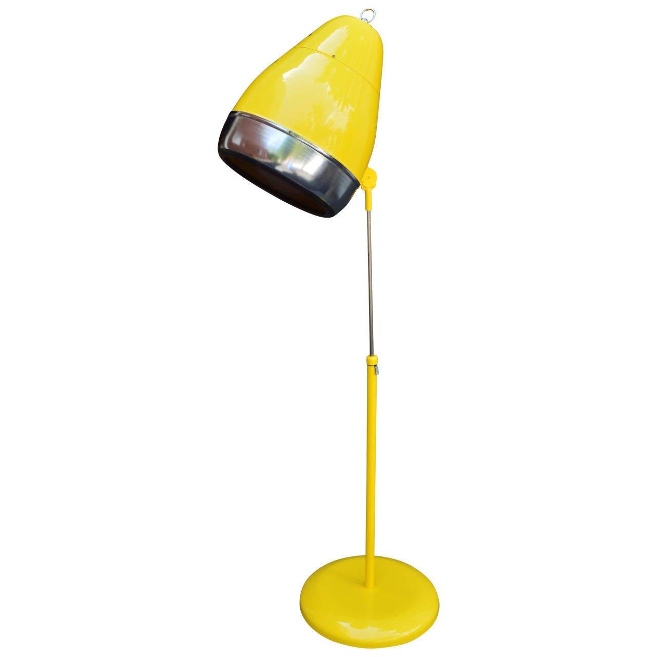 Yellow floor lamp - Yellow Floor Lamp Converted 60 S Hairdryer 1
