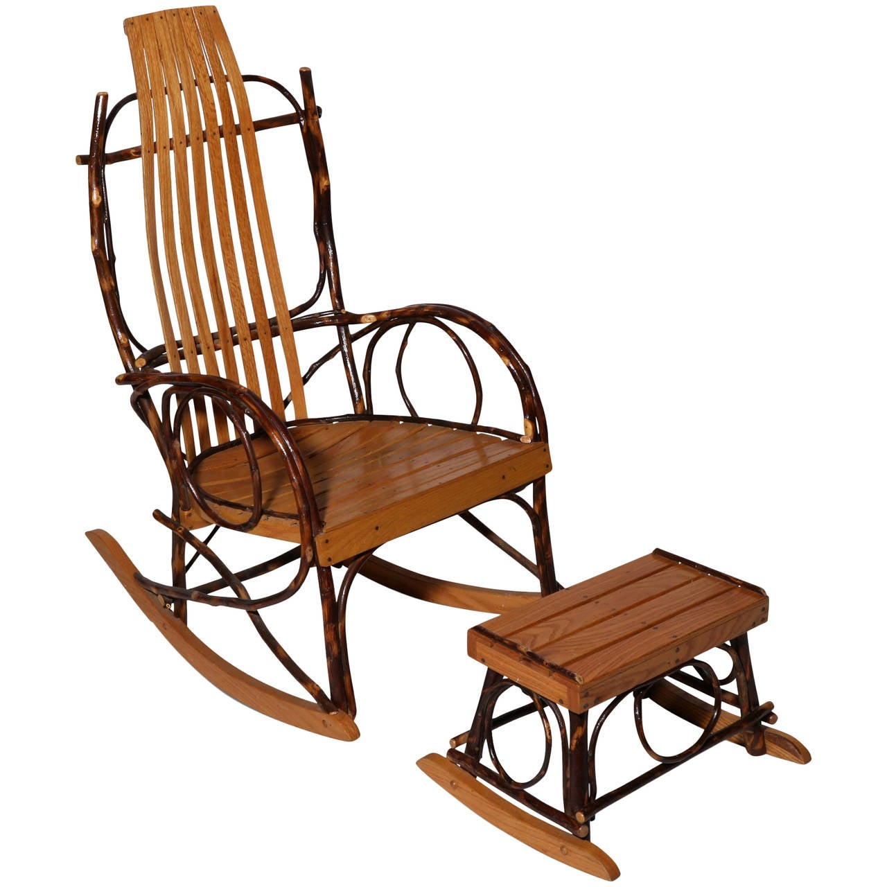 Original white painted bentwood rocking chair is no longer available - Amish Bentwood Rocker And Footstool 1
