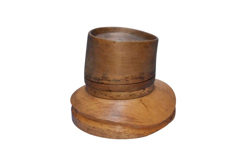 Late 19th C. Wooden Hat Form, this would make a great decorative piece. It is marked as being from Paris.