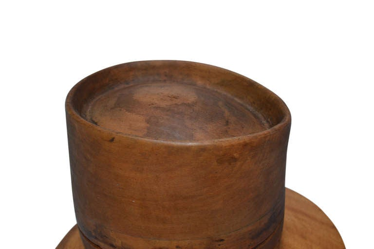 19th C. Wooden French Hat Form, marked PARIS In Excellent Condition For Sale In Haddonfield, NJ