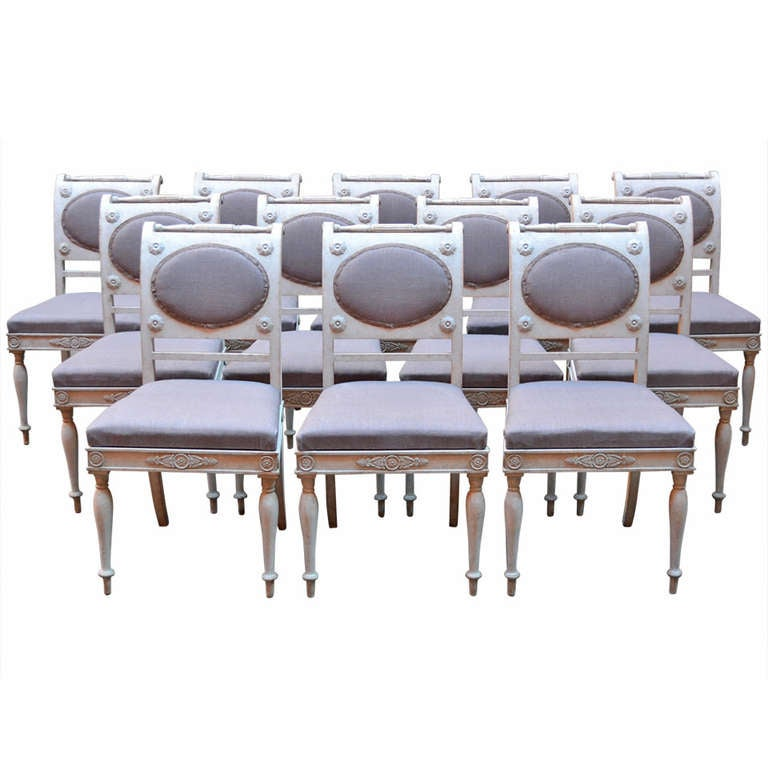 Set Of 12 Gustavian Dining Chairs At 1stdibs