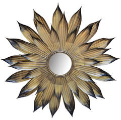 Sunburst Mirror of Thin Gilded Metal Leaves