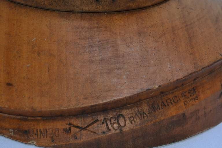 19th C. Wooden French Hat Form, marked PARIS For Sale 1