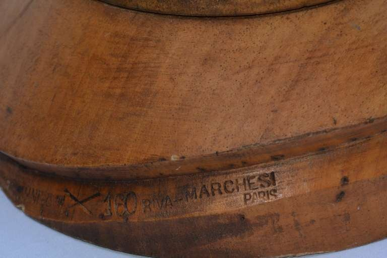 19th C. Wooden French Hat Form, marked PARIS For Sale 2