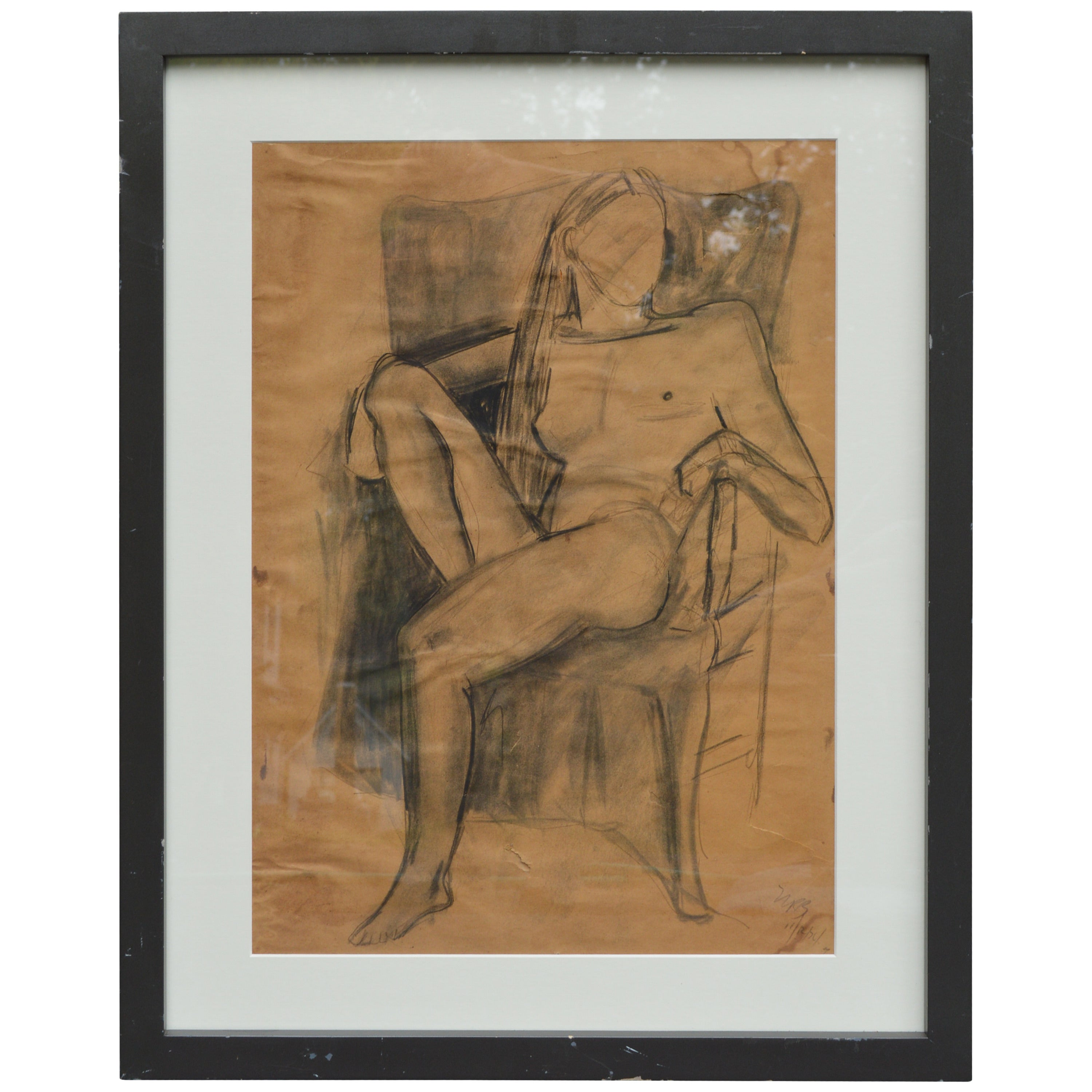 Sitting Female Nude Sketch Painting, Signed 1974