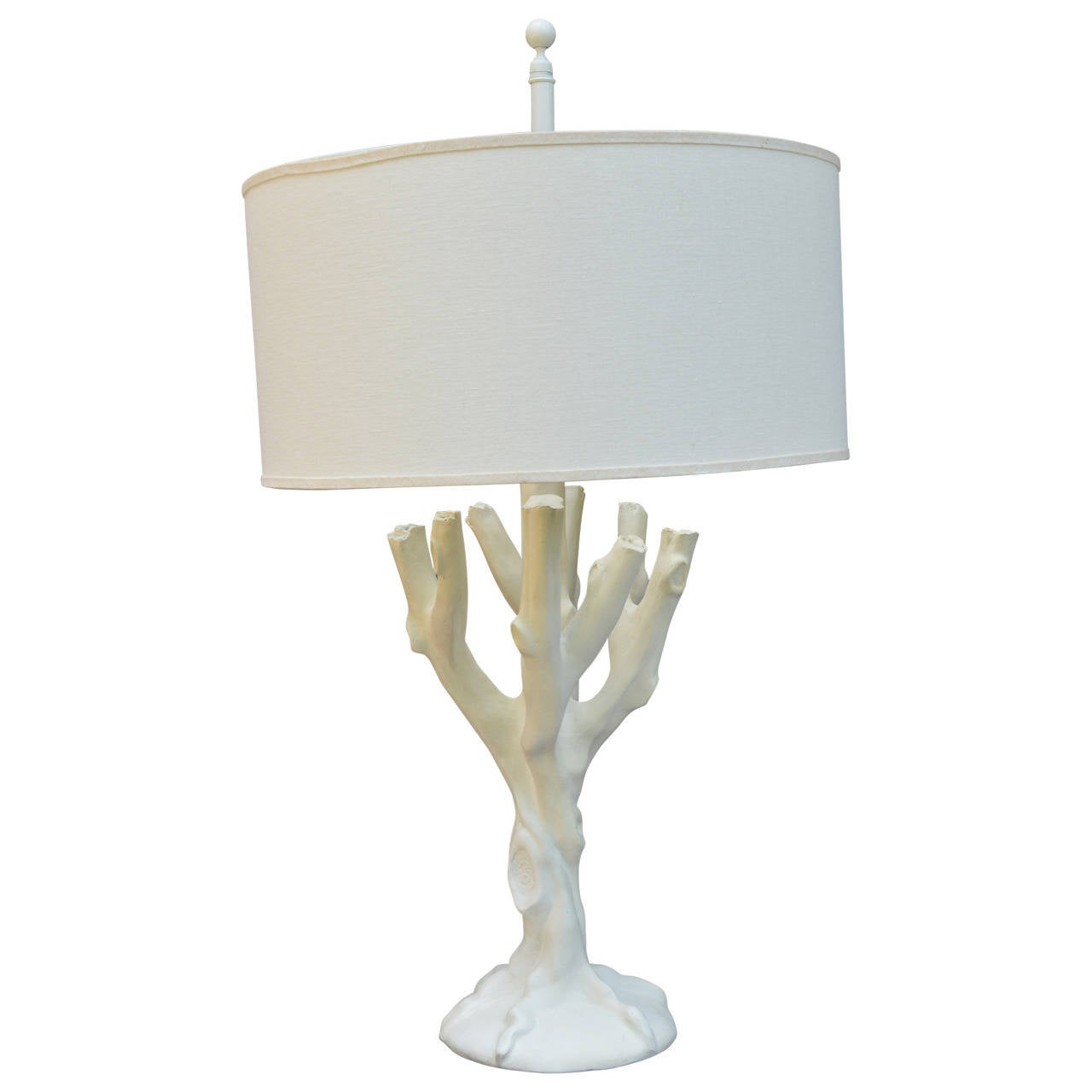 Beautiful faux bois tree form lamp in the style of John Dickinson. Original finial, shown with linen drum shade, not included.
