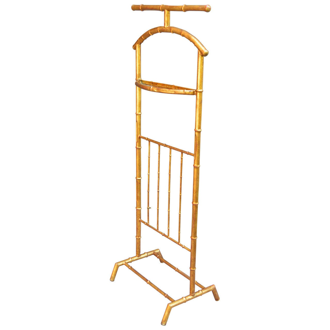 Mid-Century Modern Gilded Faux Bamboo Valet For Sale