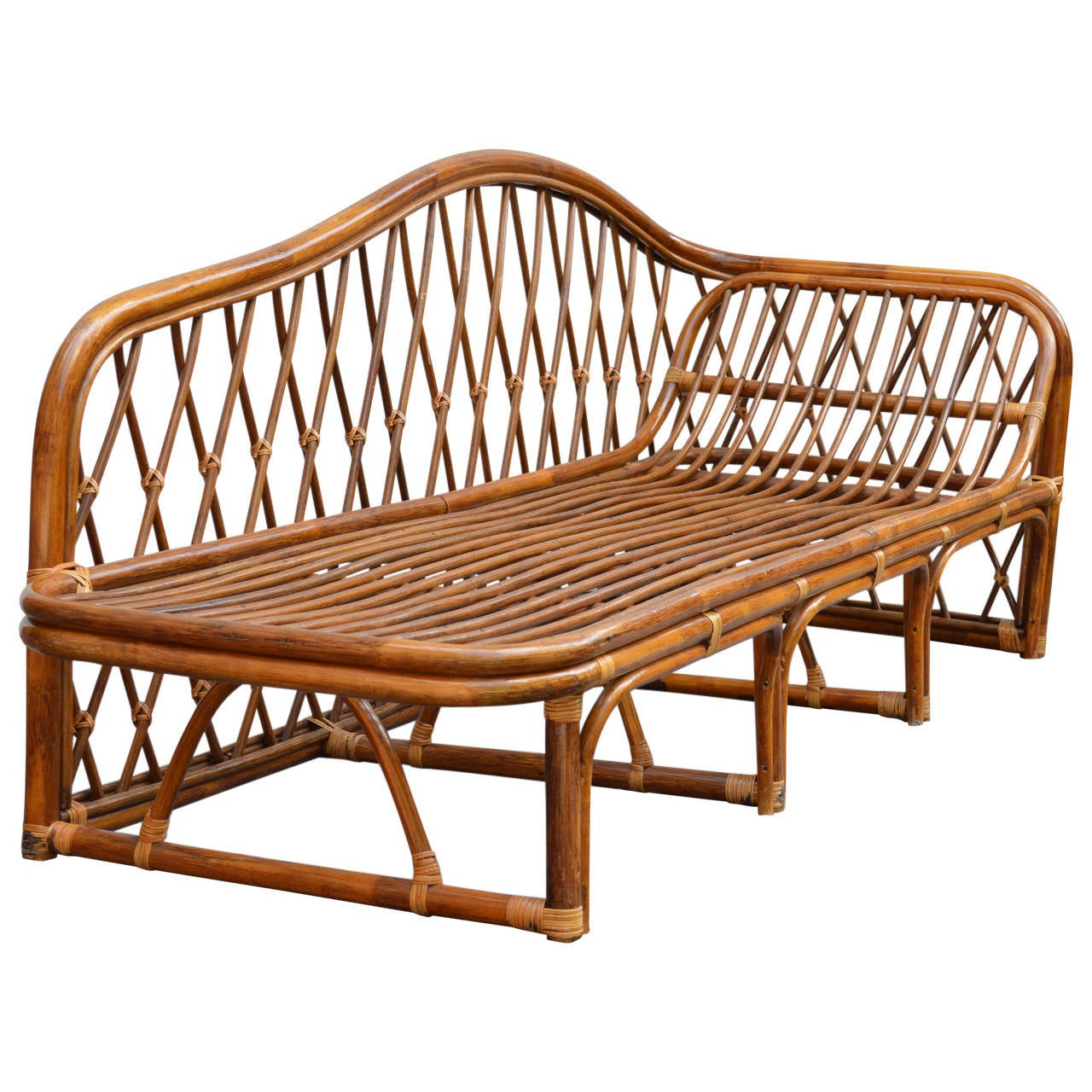 Vintage rattan chaise lounge at 1stdibs for Cane chaise lounge furniture