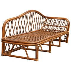 Vintage Rattan Chaise Lounge