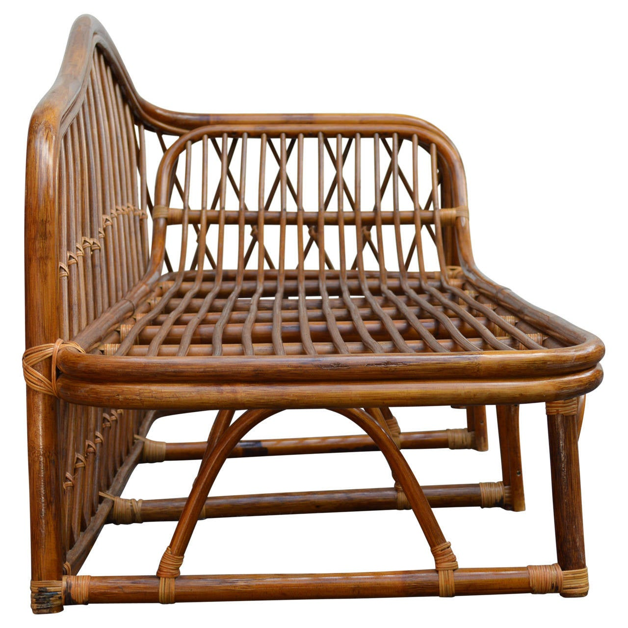 Vintage rattan chaise lounge at 1stdibs for Antique wicker chaise