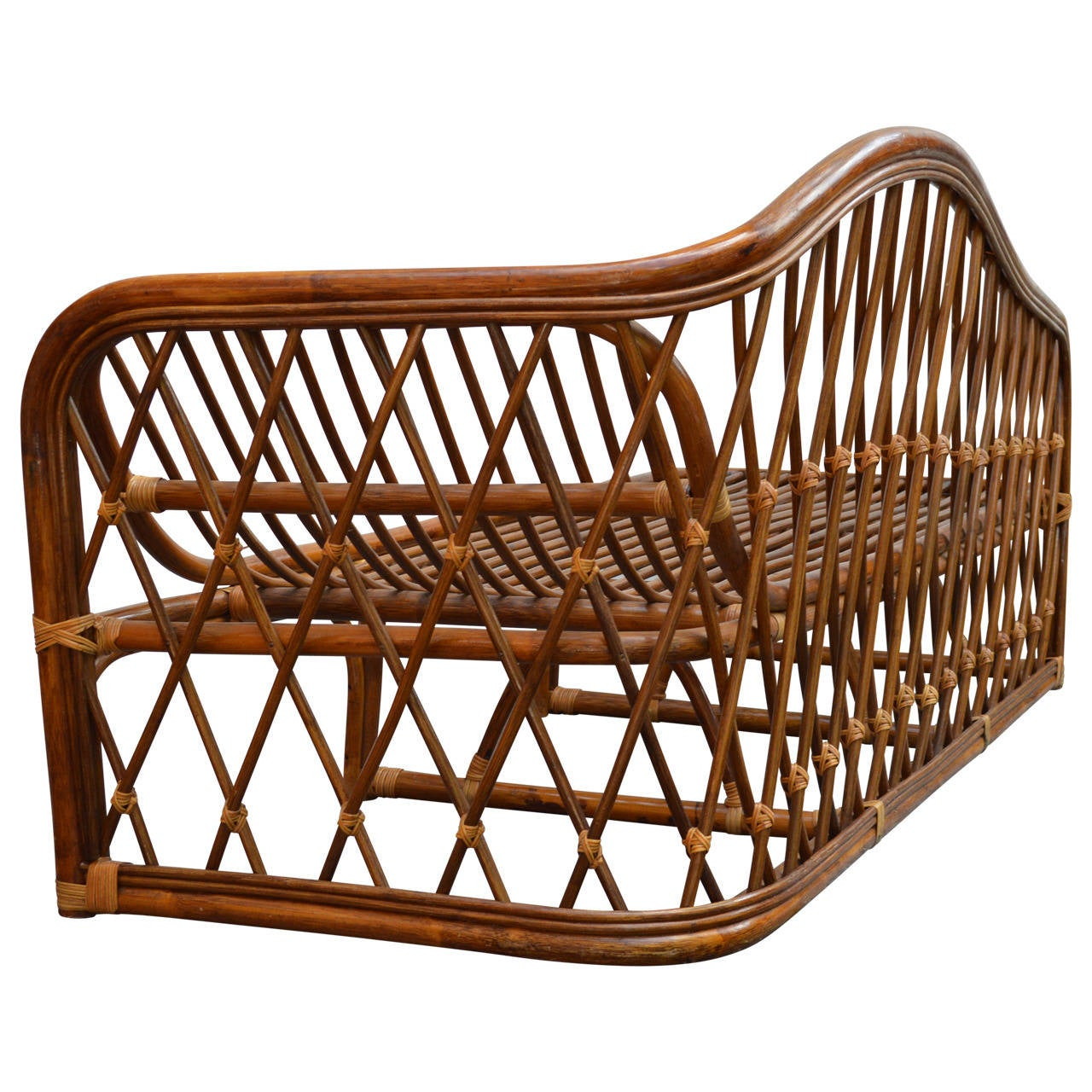 20th Century Vintage Rattan Chaise Lounge