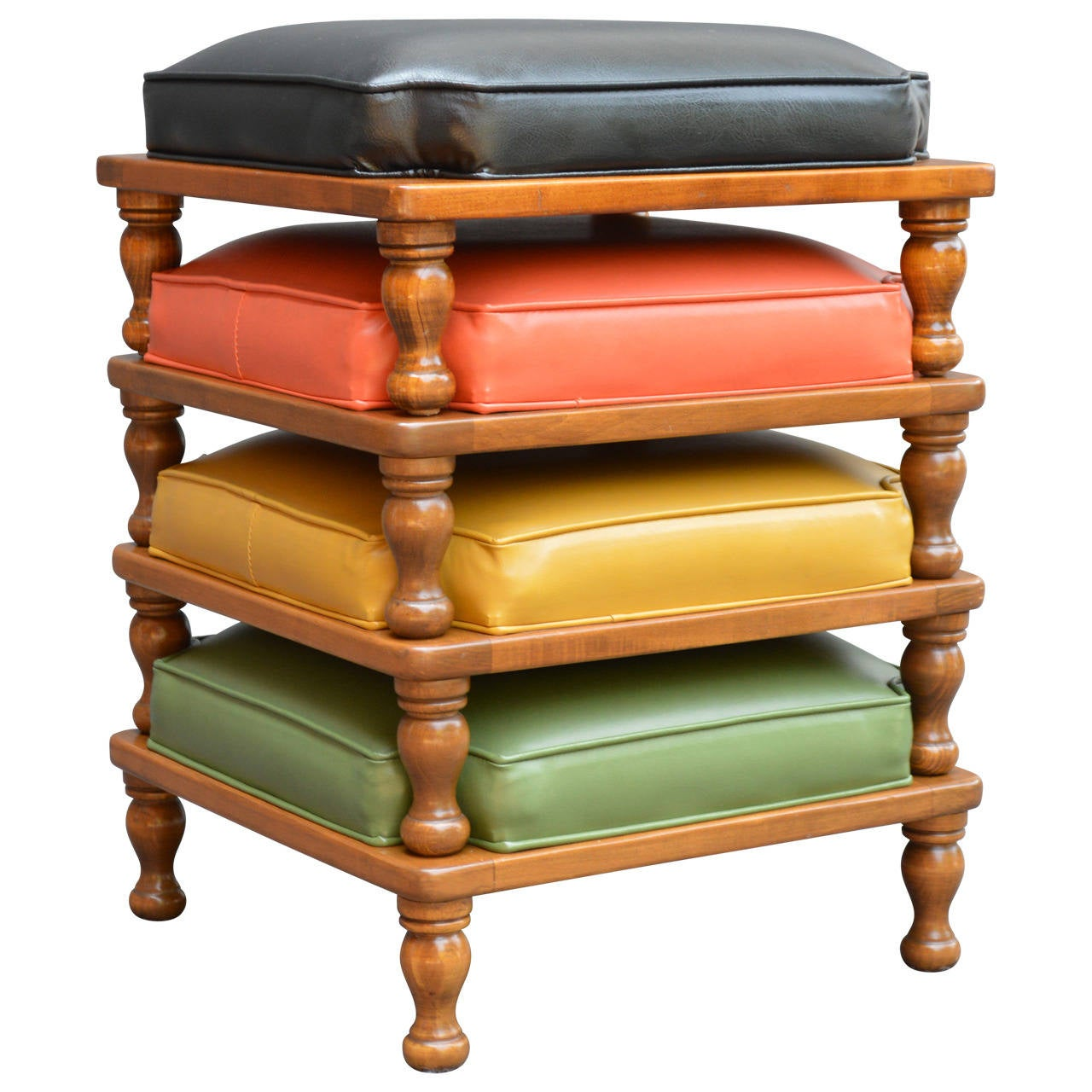 20th Century Set of Midcentury Stacking Ottomans
