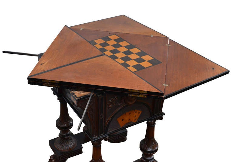 19th c english folding game table at 1stdibs for 10 games in 1 table