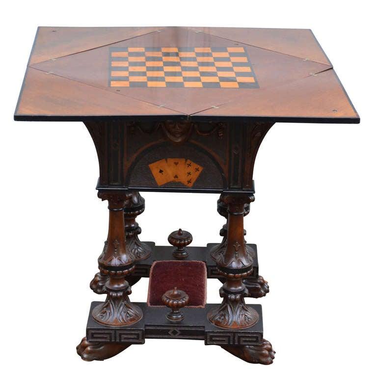 19th Century English Folding Game Table