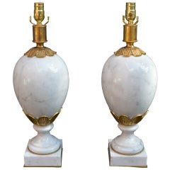 Pair Of Italian White Marble Table Lamps