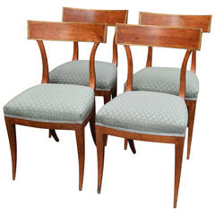 Set of Italian Directoire Curved Back Walnut Chairs