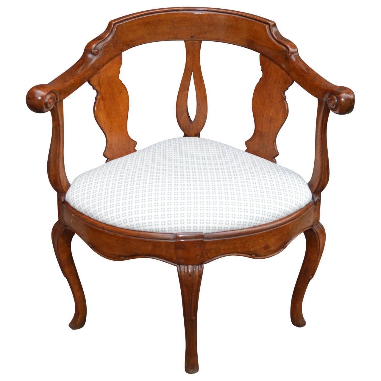 18th Century Danish Rococo Corner Chair