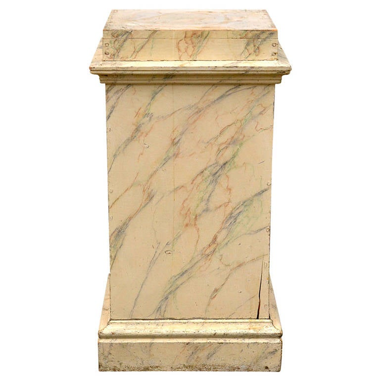 19th Century Faux Marble Pedestal