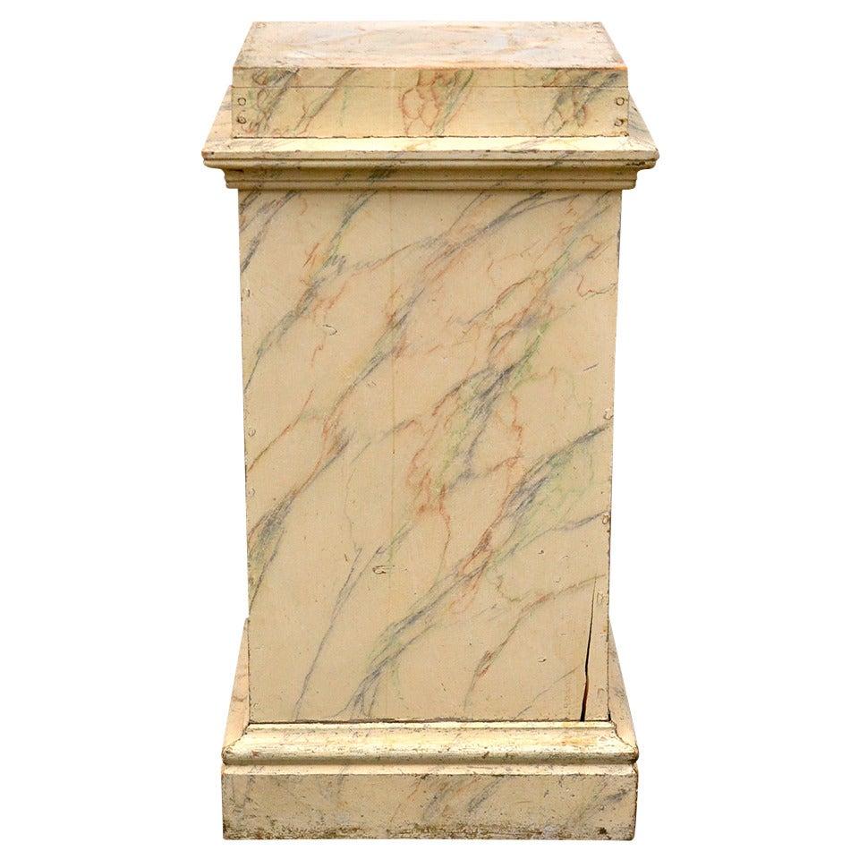 Scandinavian 19th Century Faux Marble Wood Pedestal