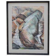 Helen Keen Waterfall, Charcoal Drawing
