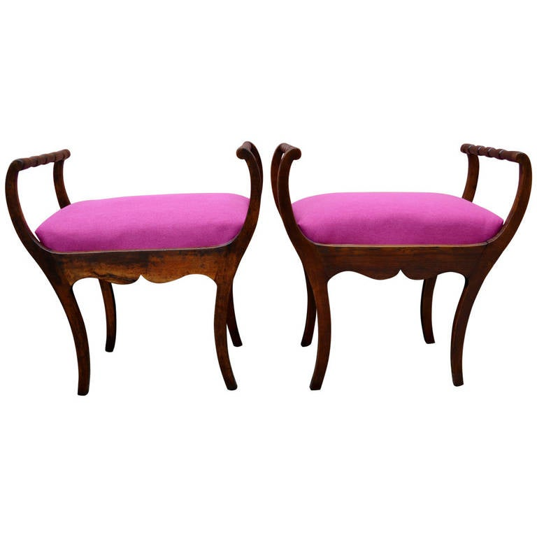 Two 19th Century Art Nouveau Stools with Hot Lipstick Pink Seats