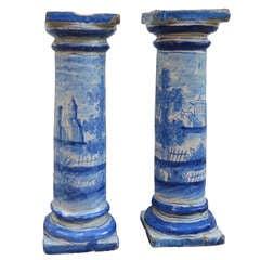18th C. German Faience Columns