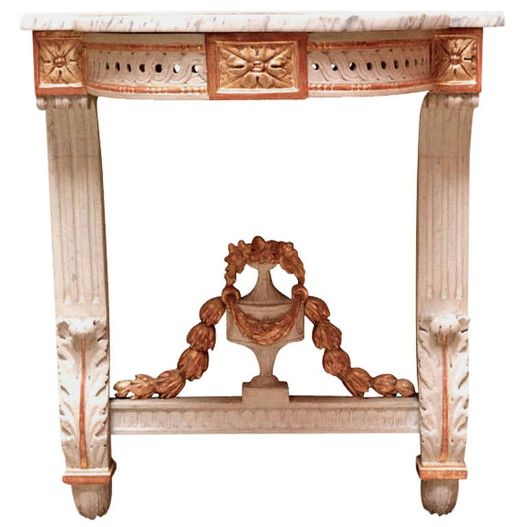 Gustavian 19th Century Danish Louis Seize Demilune Marble Top Wall Console For Sale