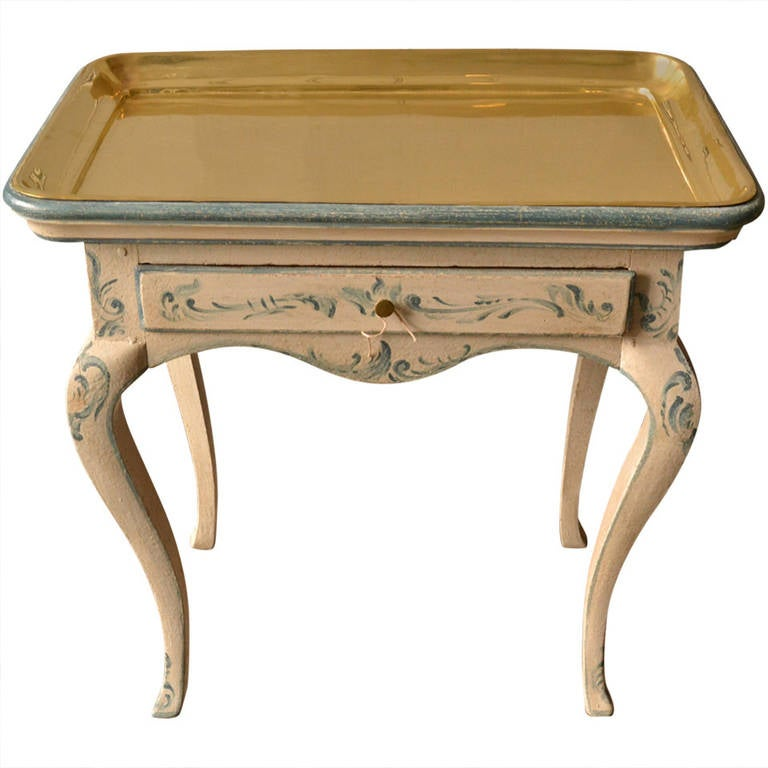 18th Century Rococo Side Table with Brass Tray For Sale