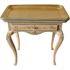 18th Century Rococo Side Table with Brass Tray