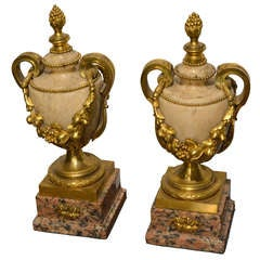 Pair of 18th Century Ormolu and Marble Vases