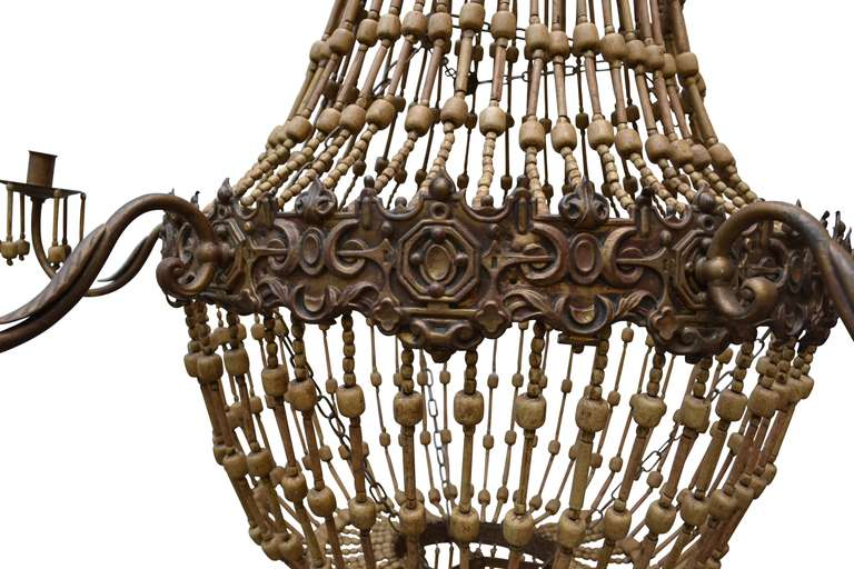Large Wood Beaded Chandelier 3