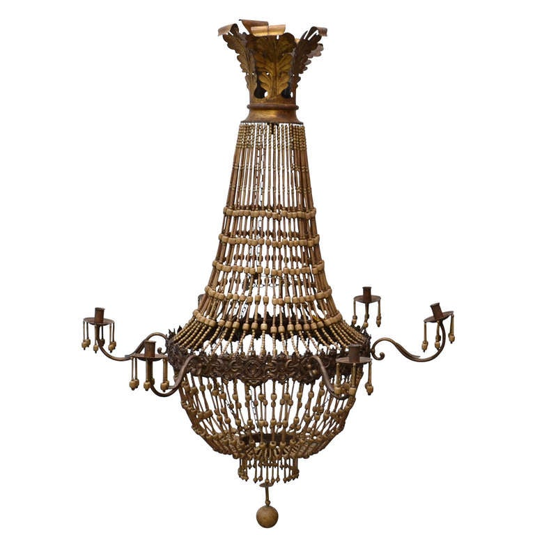 Large wood beaded chandelier at 1stdibs for Wood pendant chandelier