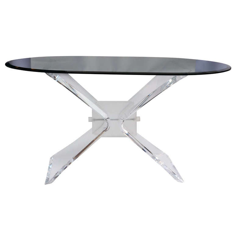 Lucite dining table with oval glass top at 1stdibs for Oval glass dining table