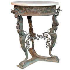 "Italian, 19th Century ""Temple of Isis, Pompeii"" Bronze Garden Table"