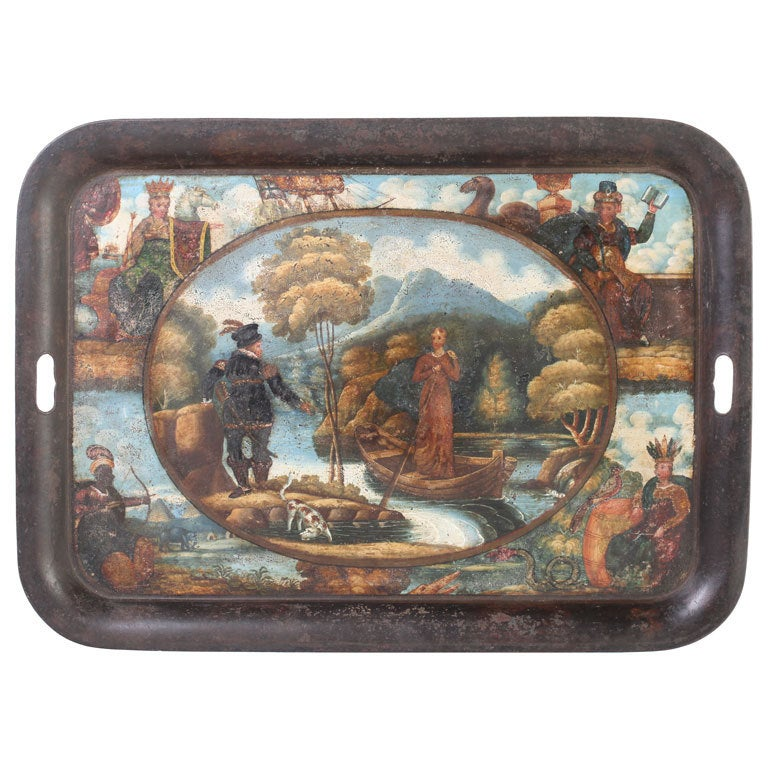 19th Century English Scenic Tole Tray