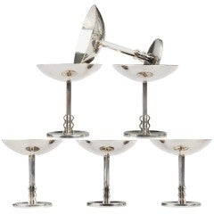 Six Art Deco Sterling Champagne Coupes