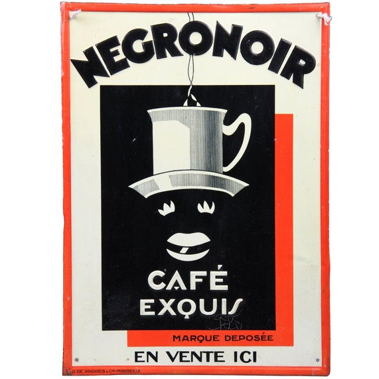 Vintage Negro Noir Coffee Advertising Sign At 1stdibs