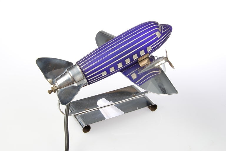 Original Art Deco Chrome And Glass Airplane Lamp At 1stdibs