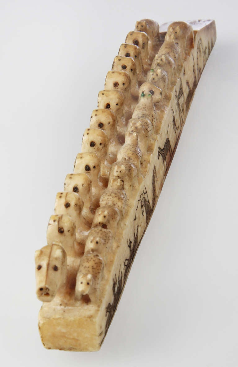 Exceptional th century eskimo whale bone carving at stdibs