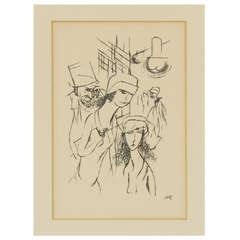 """George Grosz """"Portes D'Eux Mortes Filles dans la rue a Brest"""""""