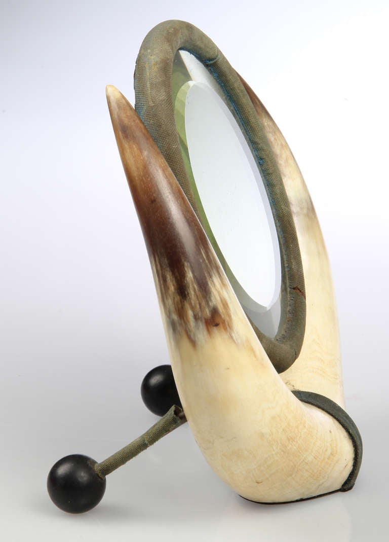 Early Victorian Mirror With Horns At 1stdibs