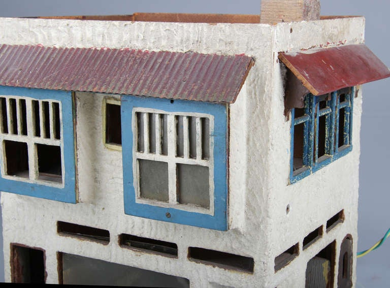Stucco two story scale folk art handmade building at 1stdibs for Self garage strasbourg