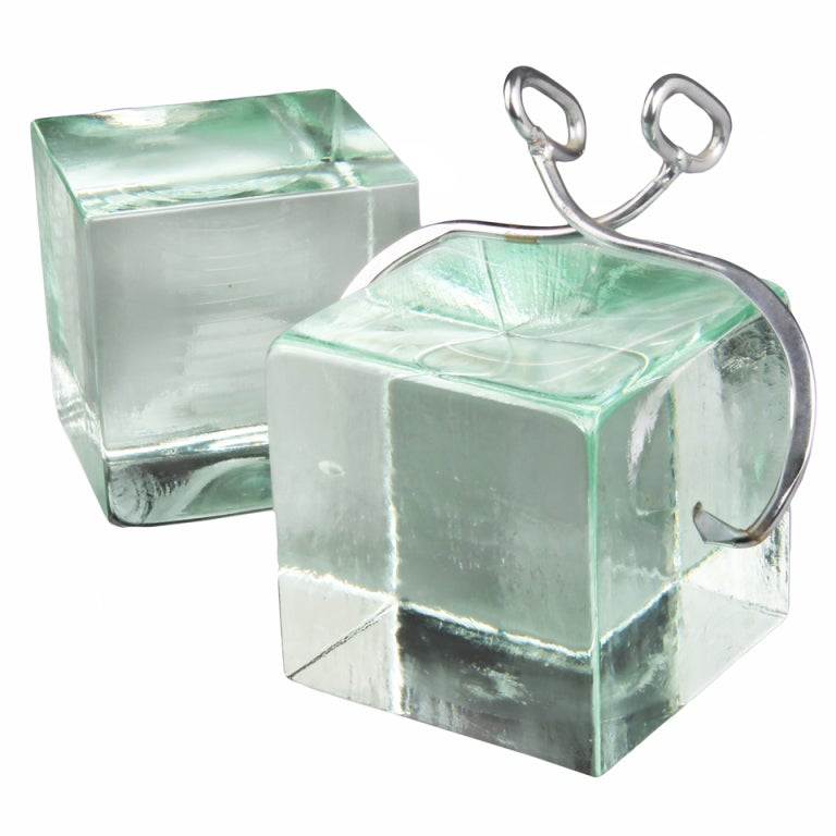 Sculptural Bookends By Curtis Jere Oversized Glass Ice Blocks With Tongs At 1stdibs