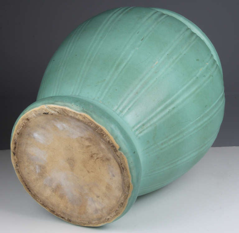Green Terra Cotta : Large arts and crafts matte green terra cotta jardiniere