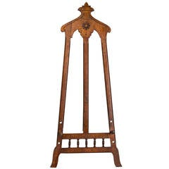 Unusual Hand-Carved Aesthetic Movement Easel with Adjustable Pegs