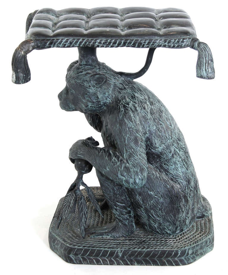 Pair Of Maitland Smith Bronze Monkey Stools Or Tables At