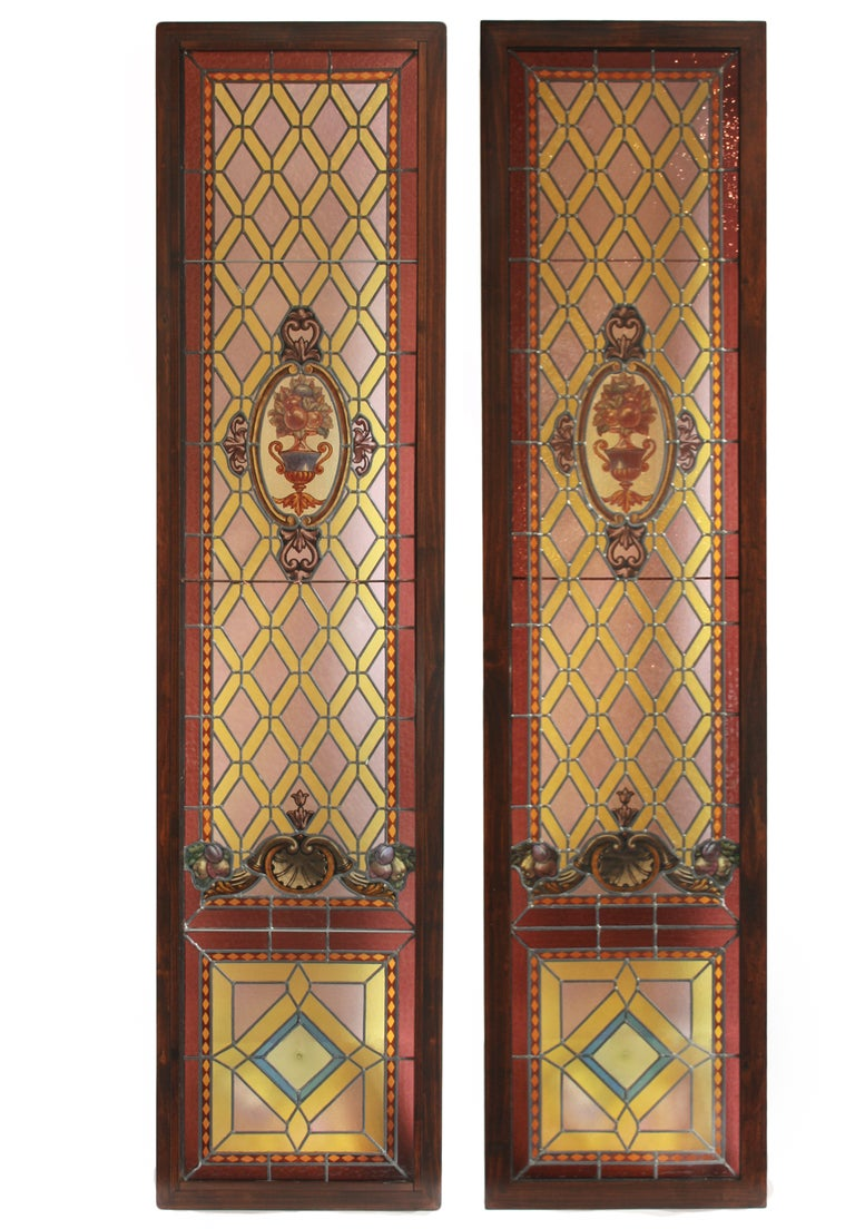 Pair Of Large French Antique Stained Glass Panels At 1stdibs