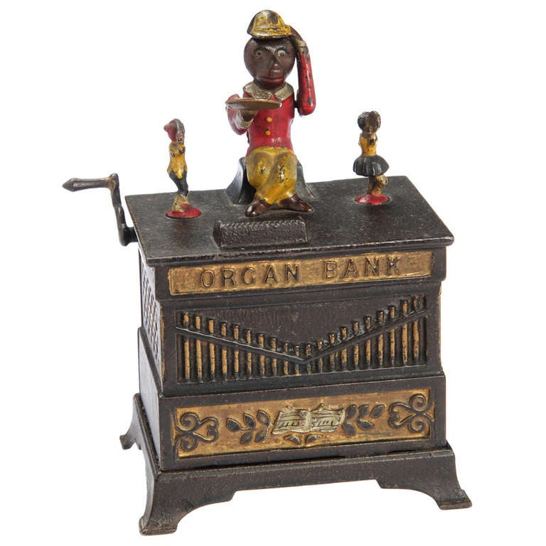 ... Kyser Furniture By Monkey Mechanical Painted Cast Iron Quot Organ Bank  Quot At 1stdibs ...