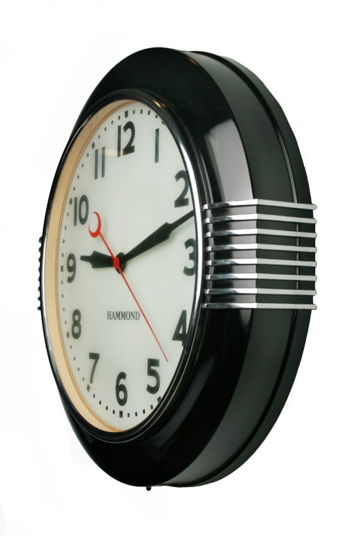 Large art deco illuminated hammond sychronous wall clock for Art deco wall art